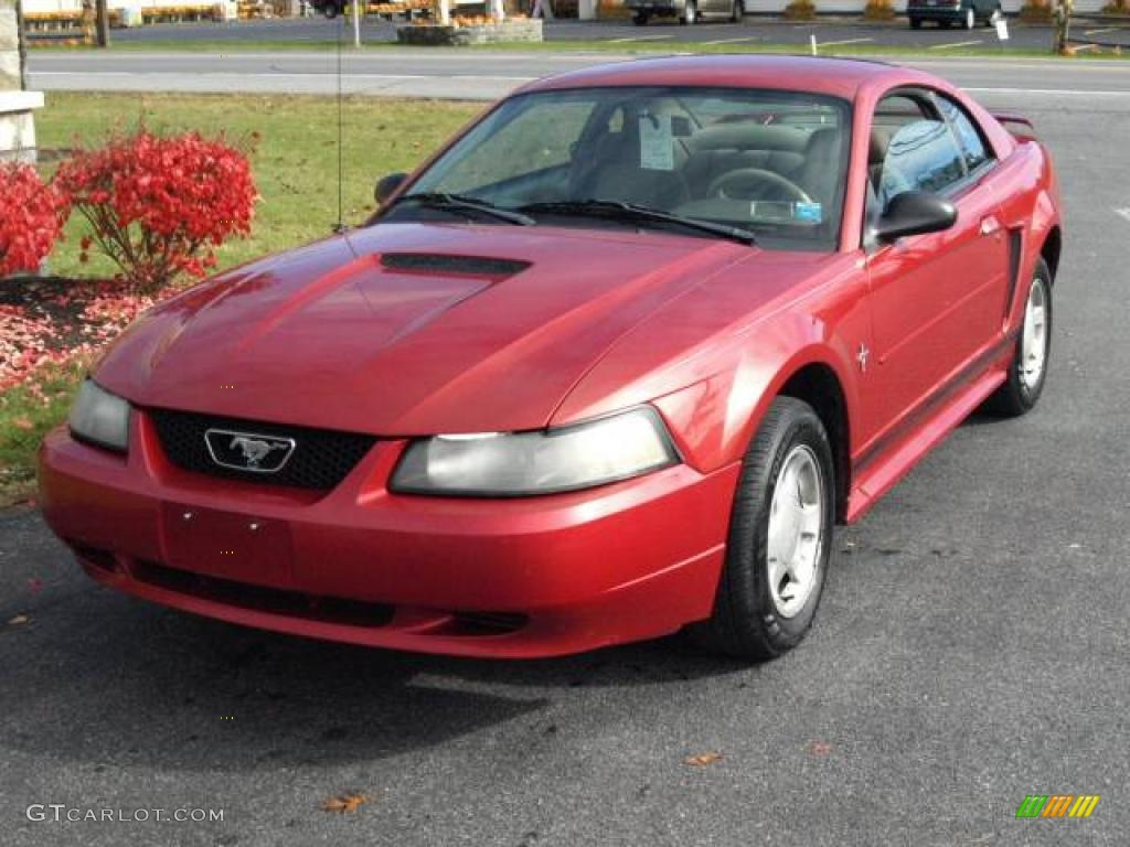 2001 Mustang V6 Coupe - Laser Red Metallic / Medium Parchment photo #2