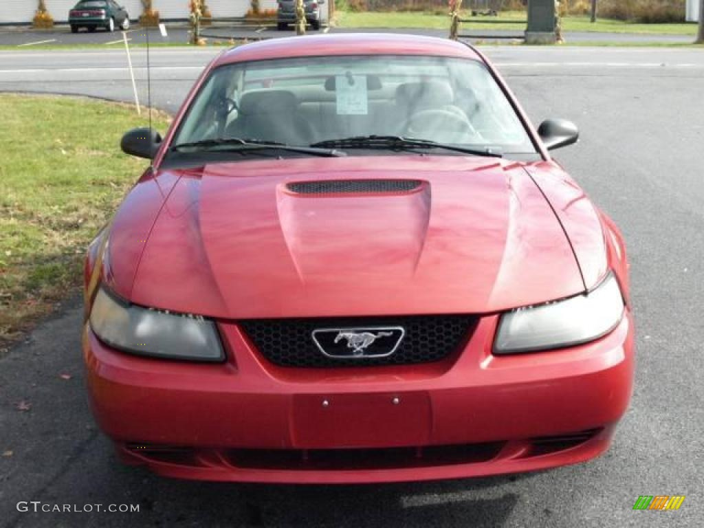2001 Mustang V6 Coupe - Laser Red Metallic / Medium Parchment photo #3