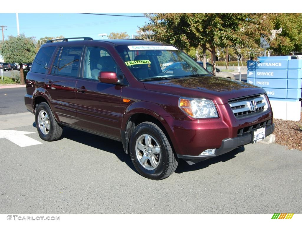 2007 Pilot EX-L 4WD - Dark Cherry Pearl / Gray photo #1