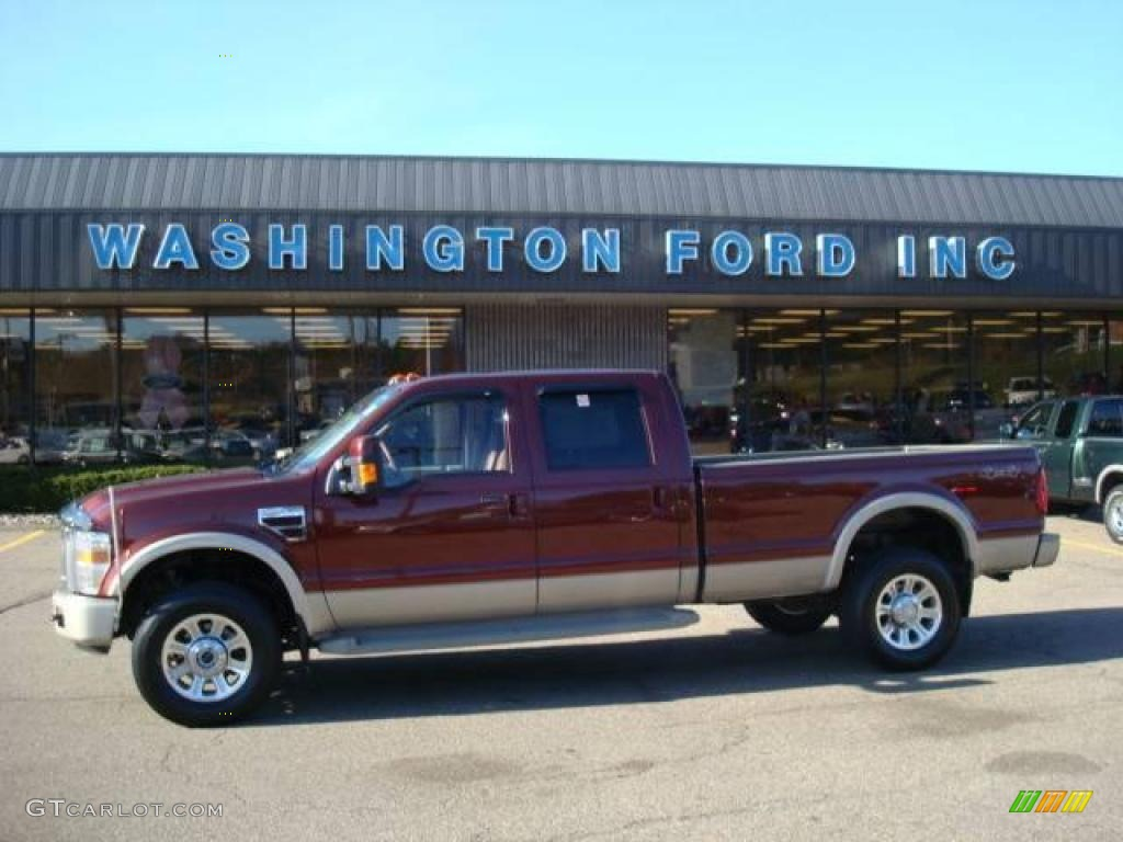 2008 f350 super duty king ranch crew cab 4x4 dark toreador red chaparral brown