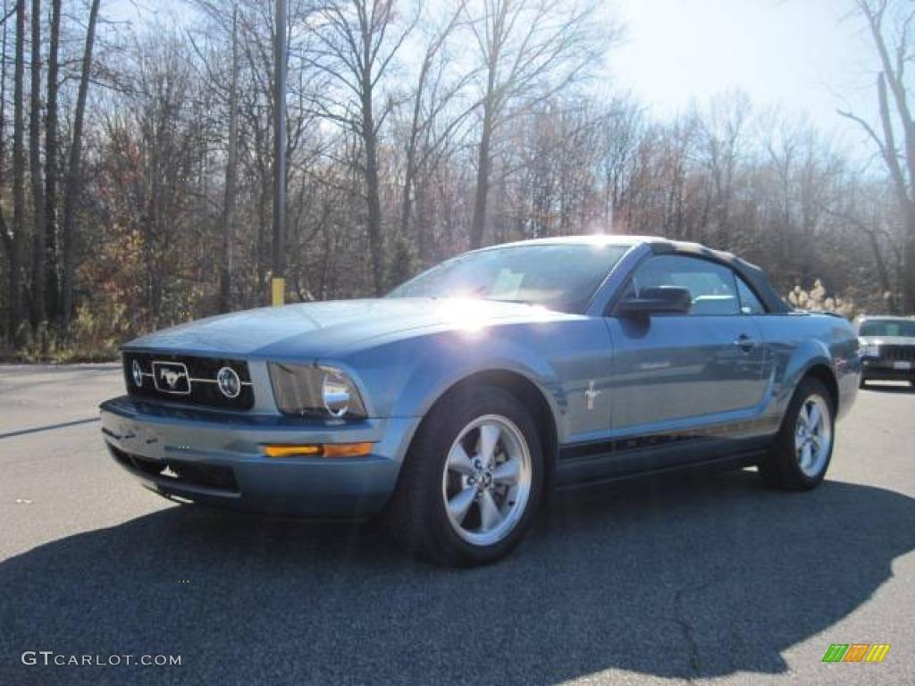 2007 Mustang V6 Premium Convertible - Windveil Blue Metallic / Medium Parchment photo #1