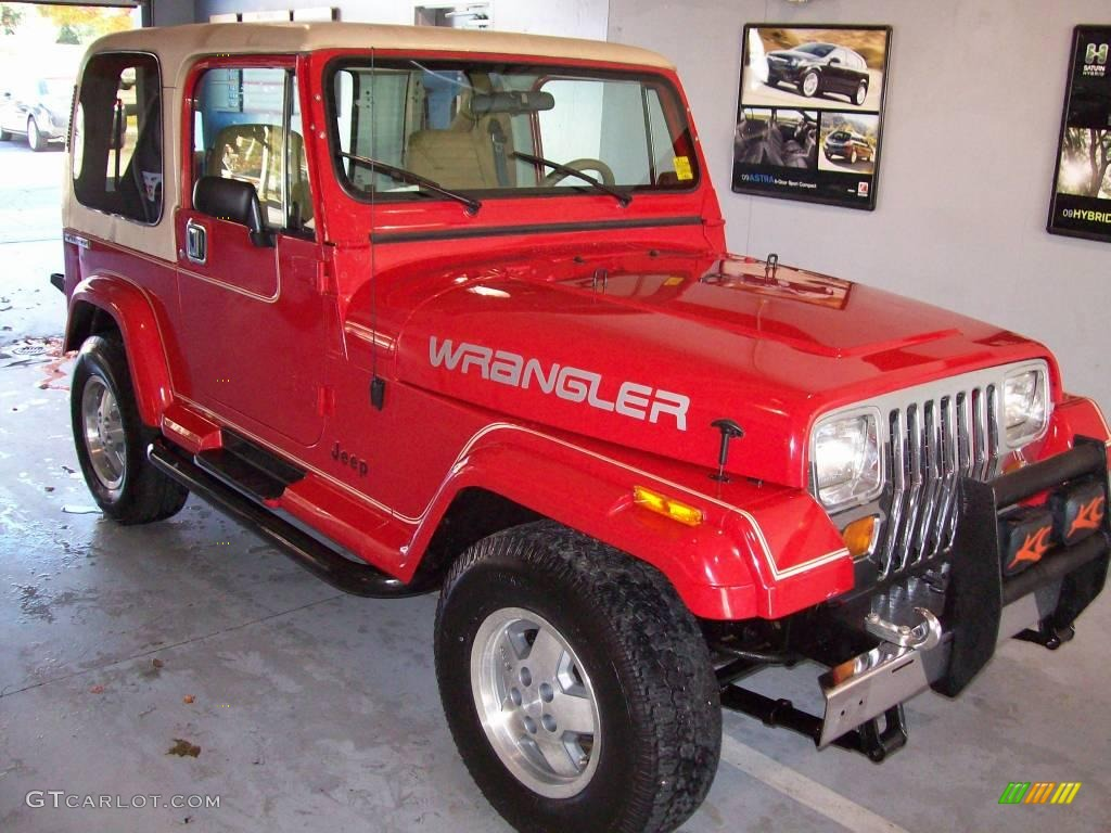 1989 Bright Red Jeep Wrangler Laredo 4x4 21614284 Photo
