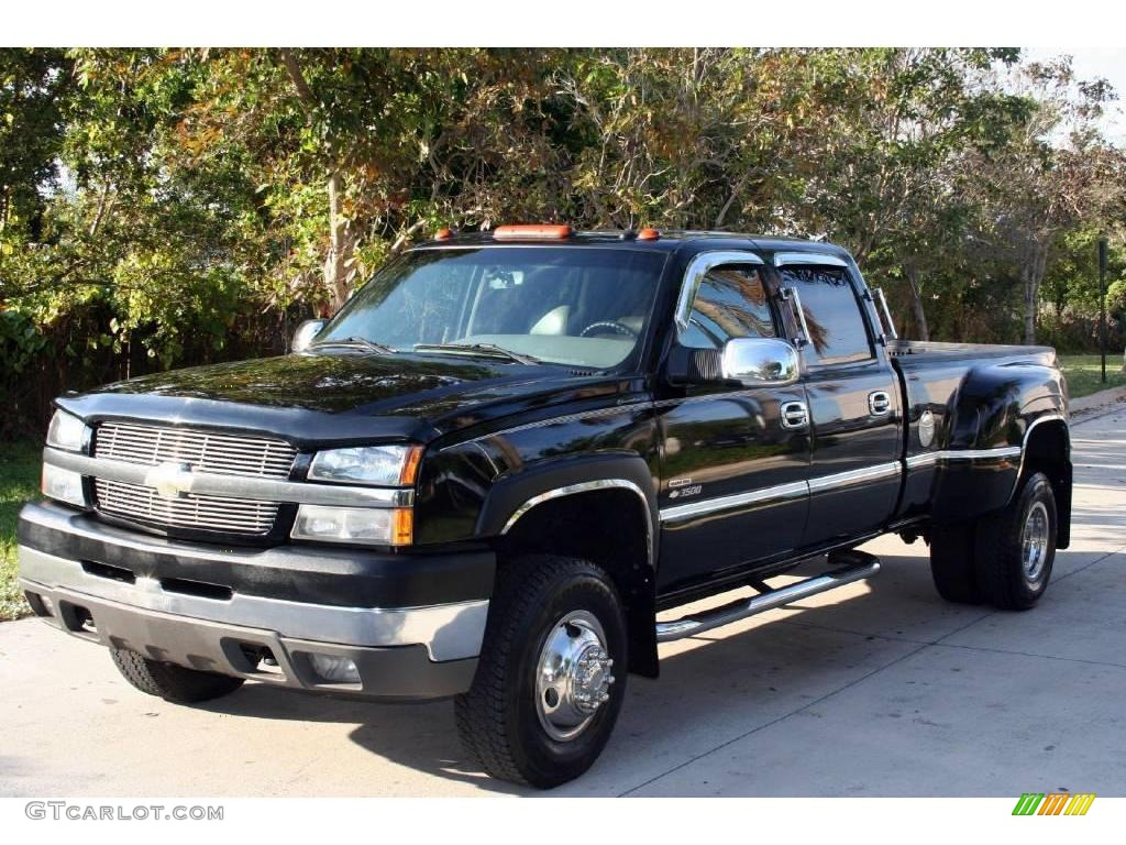 2003 silverado 3500 lt crew cab 4x4 dually black medium gray photo 1