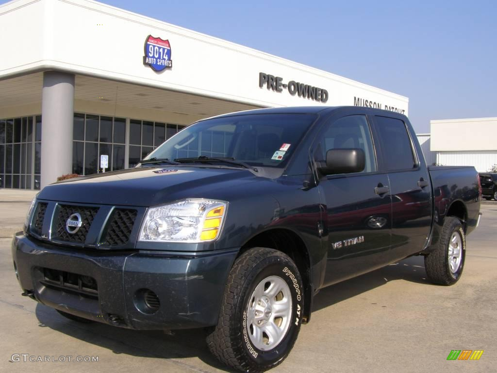2007 Titan XE Crew Cab 4x4 - Deep Water Blue/Green / Graphite Black/Titanium photo #1