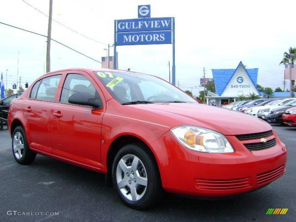 2007 Cobalt LS Sedan - Victory Red / Gray photo #1