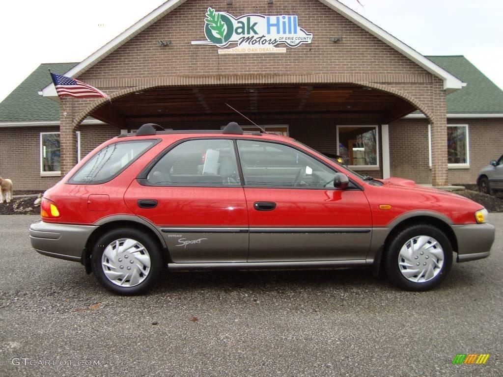 1997 brilliant red subaru impreza outback sport wagon #22277850