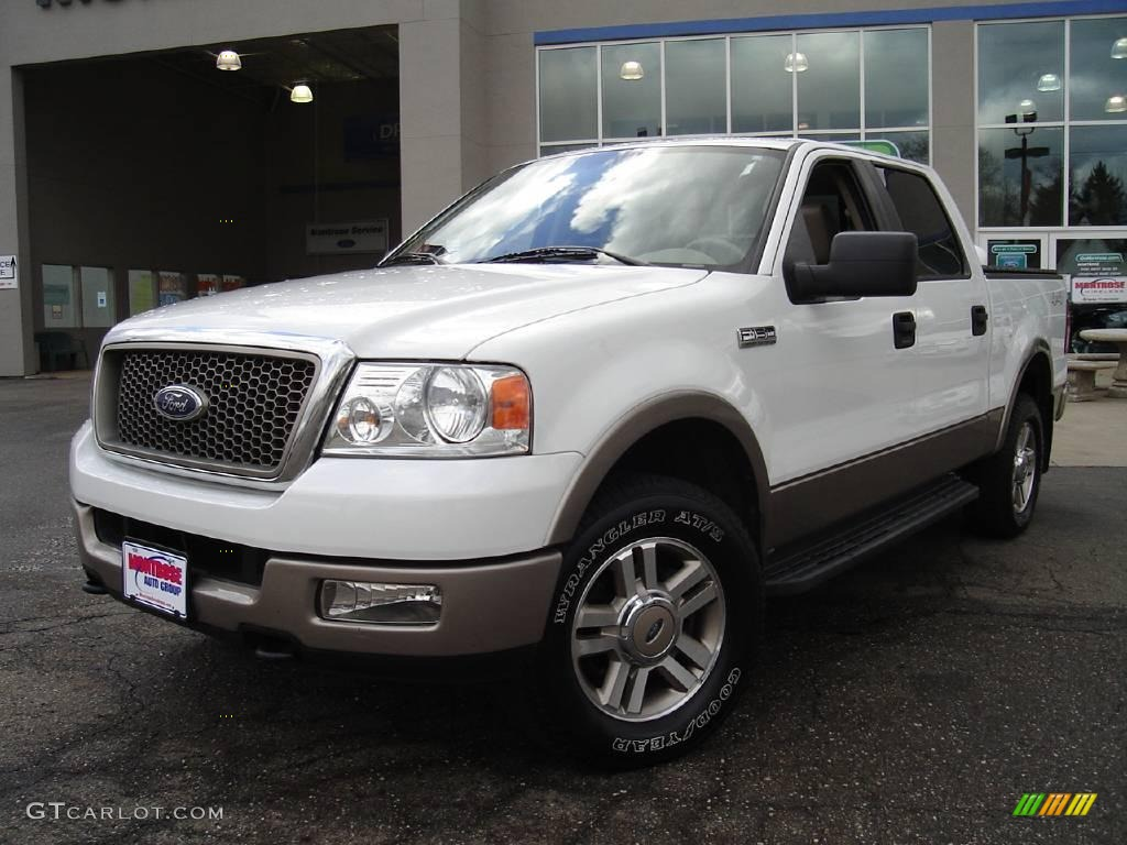 2005 ford f150 lariat supercrew 4x4 oxford white color tan. Black Bedroom Furniture Sets. Home Design Ideas