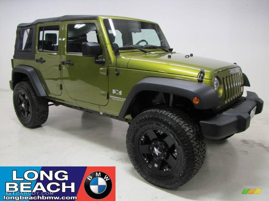 2008 rescue green metallic jeep wrangler unlimited x #23341146