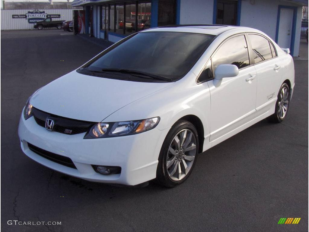 Delightful 2009 Civic Si Sedan   Taffeta White / Black Photo #1
