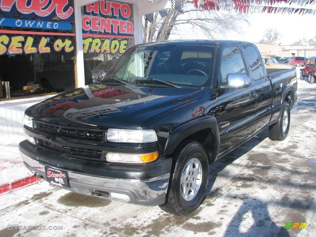 2002 Silverado 1500 LT Extended Cab 4x4 - Onyx Black / Graphite Gray photo #3