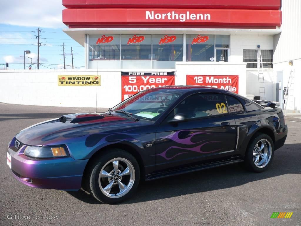 2002 Mustang GT Coupe - Sonic Blue Metallic / Medium Graphite photo #1