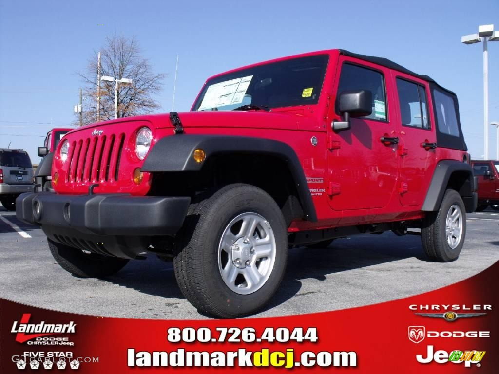 2010 flame red jeep wrangler unlimited sport 4x4 23790459. Black Bedroom Furniture Sets. Home Design Ideas