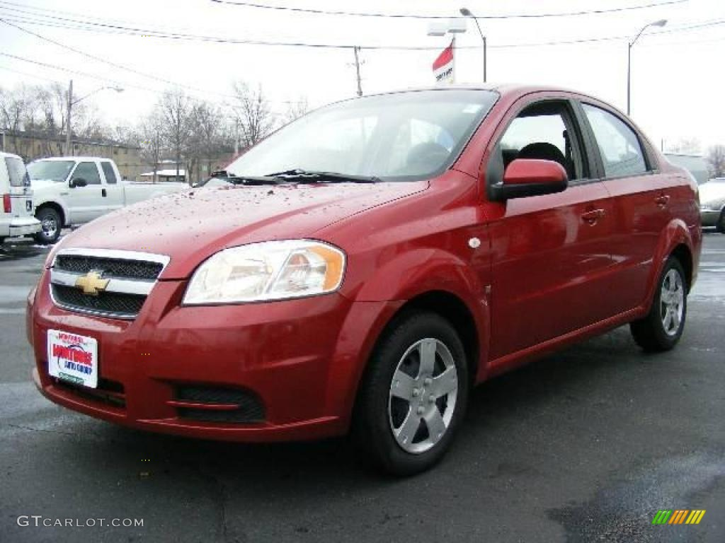 Superb 2008 Aveo LS Sedan   Sport Red Metallic / Charcoal Photo #1