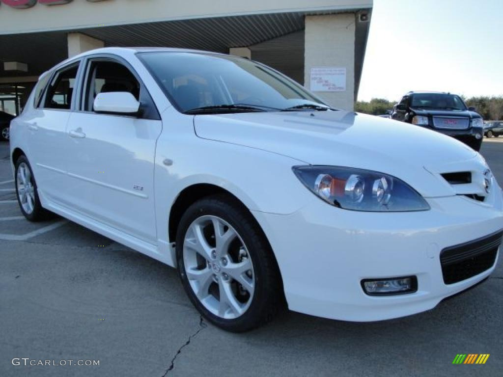 2009 crystal white pearl mica mazda mazda3 s touring hatchback 24203032 car. Black Bedroom Furniture Sets. Home Design Ideas