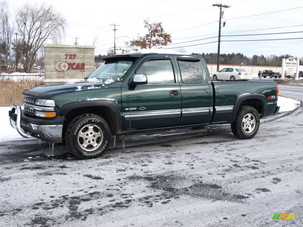 2001 Silverado 1500 LS Extended Cab 4x4 - Medium Green Pearl Metallic / Tan photo #1