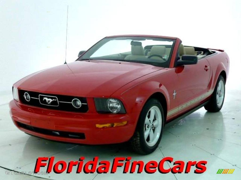 2007 Mustang V6 Deluxe Convertible - Torch Red / Light Graphite photo #1