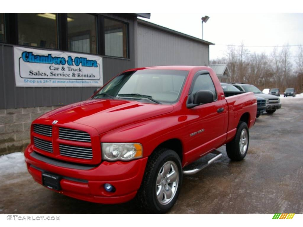 2002 Ram 1500 Sport Regular Cab 4x4 - Flame Red / Taupe photo #1