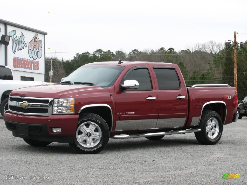 2007 sport red metallic chevrolet silverado 1500 ltz crew. Black Bedroom Furniture Sets. Home Design Ideas
