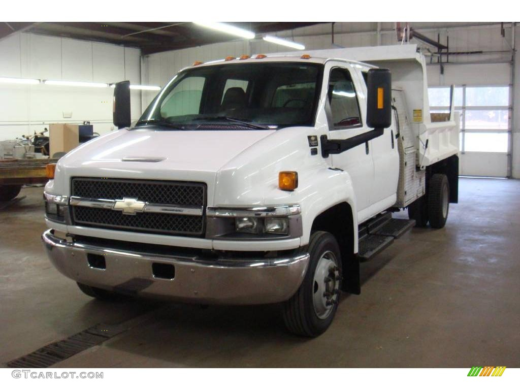 2004 C Series Kodiak C4500 Crew Cab Utility Dump Truck - Summit White / Black photo #3