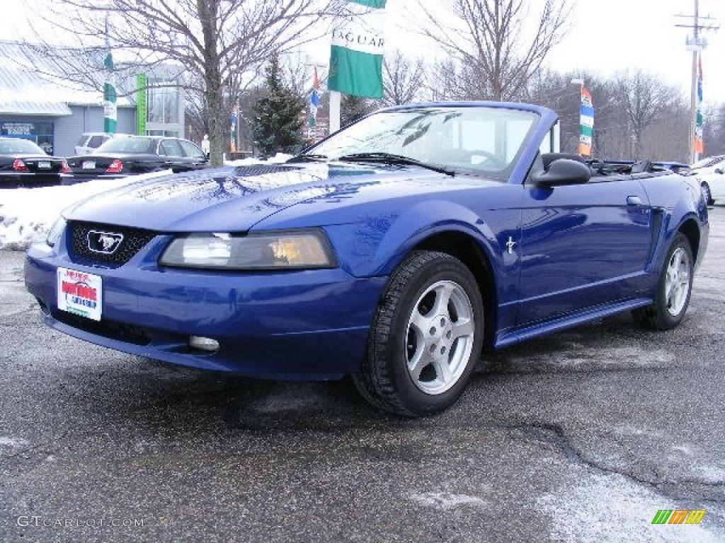 2002 Mustang V6 Convertible - Sonic Blue Metallic / Dark Charcoal photo #1