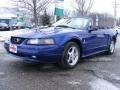 2002 Sonic Blue Metallic Ford Mustang V6 Convertible  photo #1