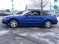 2002 Sonic Blue Metallic Ford Mustang V6 Convertible  photo #2