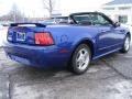 2002 Sonic Blue Metallic Ford Mustang V6 Convertible  photo #6