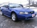 2002 Sonic Blue Metallic Ford Mustang V6 Convertible  photo #8