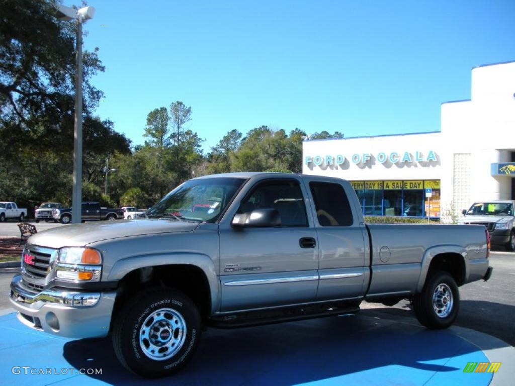 2003 Sierra 2500HD SLE Extended Cab 4x4 - Pewter Metallic / Pewter photo #1