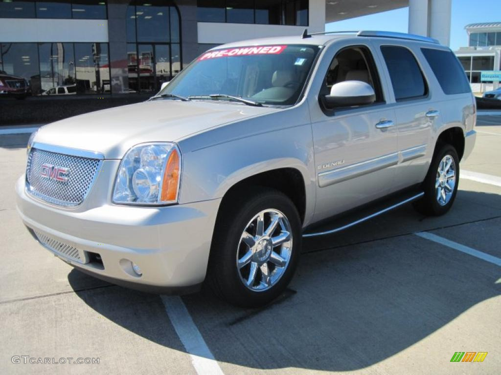 2008 yukon denali awd silver birch metallic cocoa light cashmere photo 1