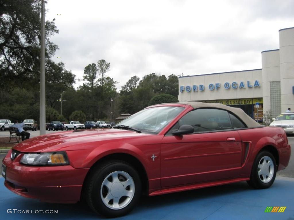 2001 Mustang V6 Convertible - Laser Red Metallic / Medium Parchment photo #1