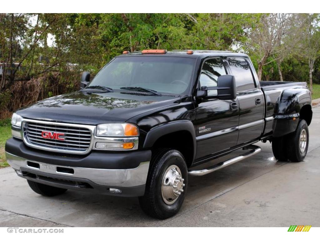 2002 sierra 3500 sle crew cab 4x4 dually onyx black graphite photo 1