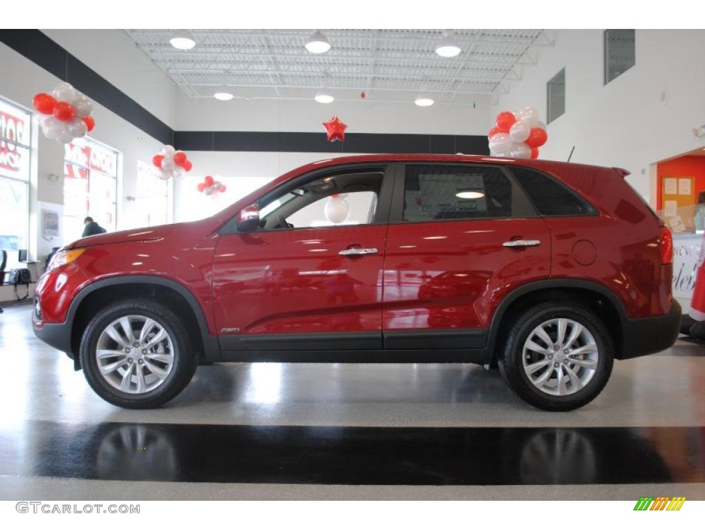 2011 Sorento EX AWD - Spicy Red / Beige photo #4