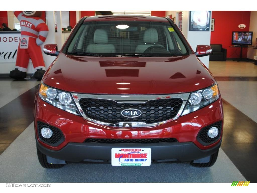 2011 Sorento EX AWD - Spicy Red / Beige photo #11