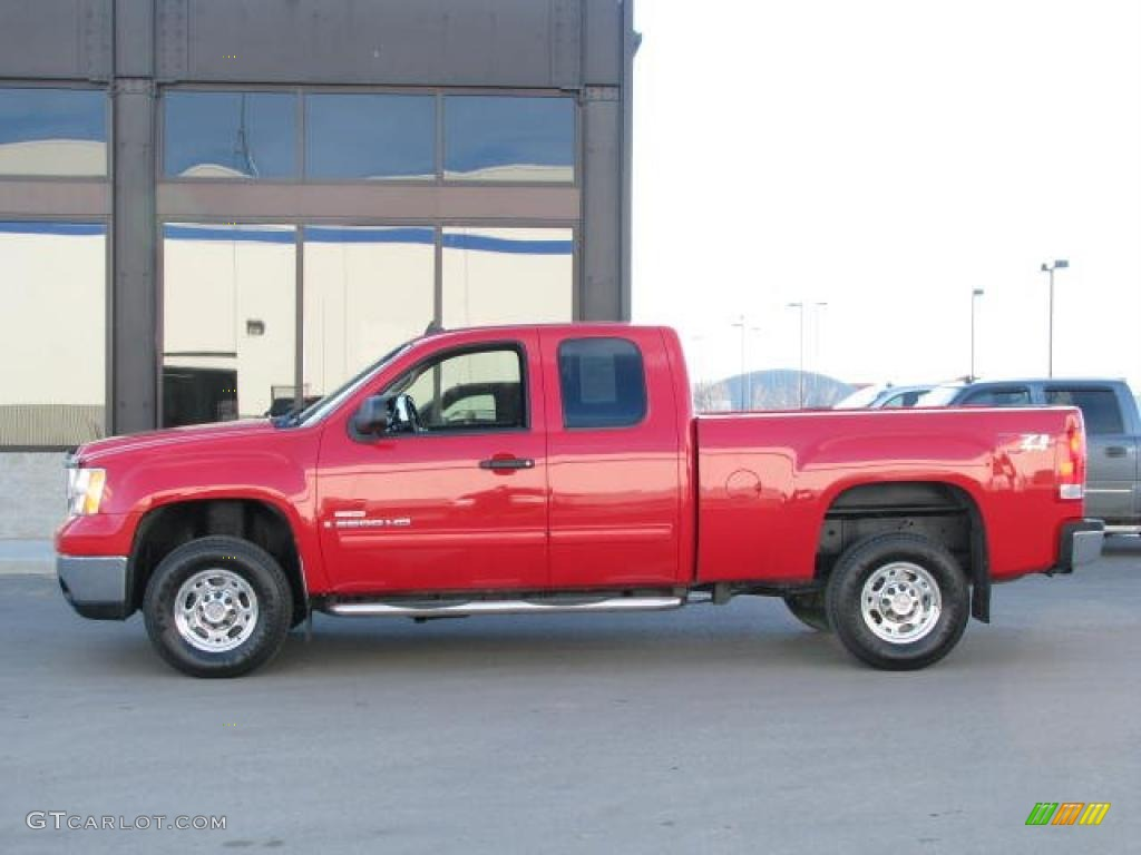 2007 fire red gmc sierra 2500hd sle extended cab 4x4. Black Bedroom Furniture Sets. Home Design Ideas
