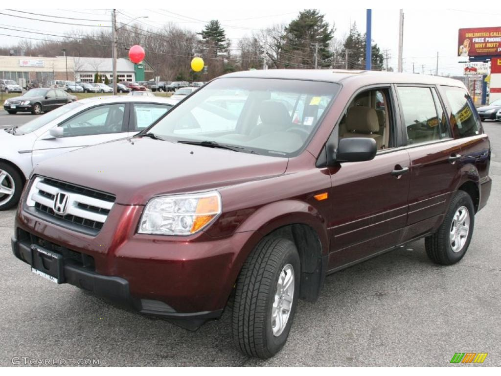 2007 Pilot LX 4WD - Dark Cherry Pearl / Saddle photo #1