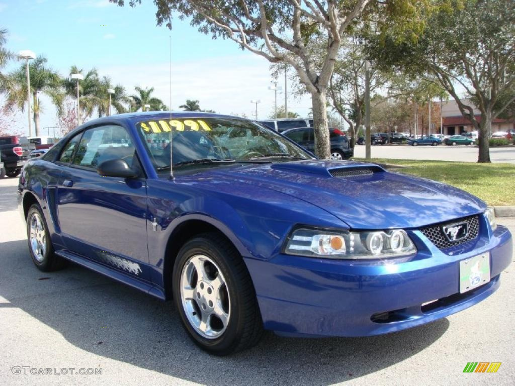 2003 Mustang V6 Coupe - Sonic Blue Metallic / Dark Charcoal photo #1
