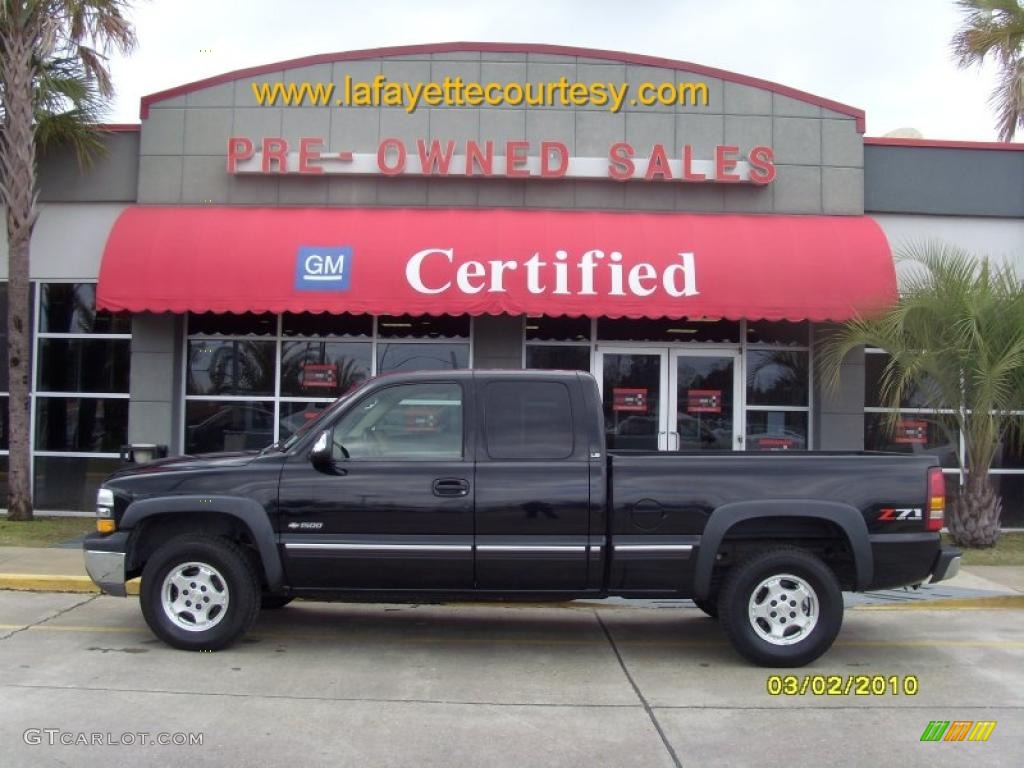 2002 Silverado 1500 LS Extended Cab 4x4 - Onyx Black / Tan photo #1