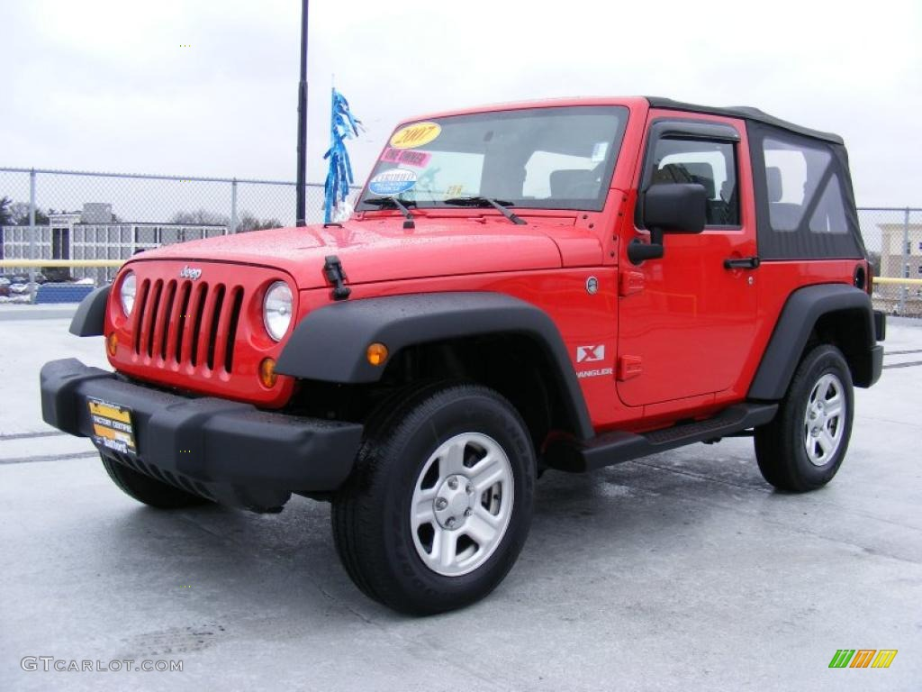2007 Flame Red Jeep Wrangler X 4x4 26595702 Car Color Galleries