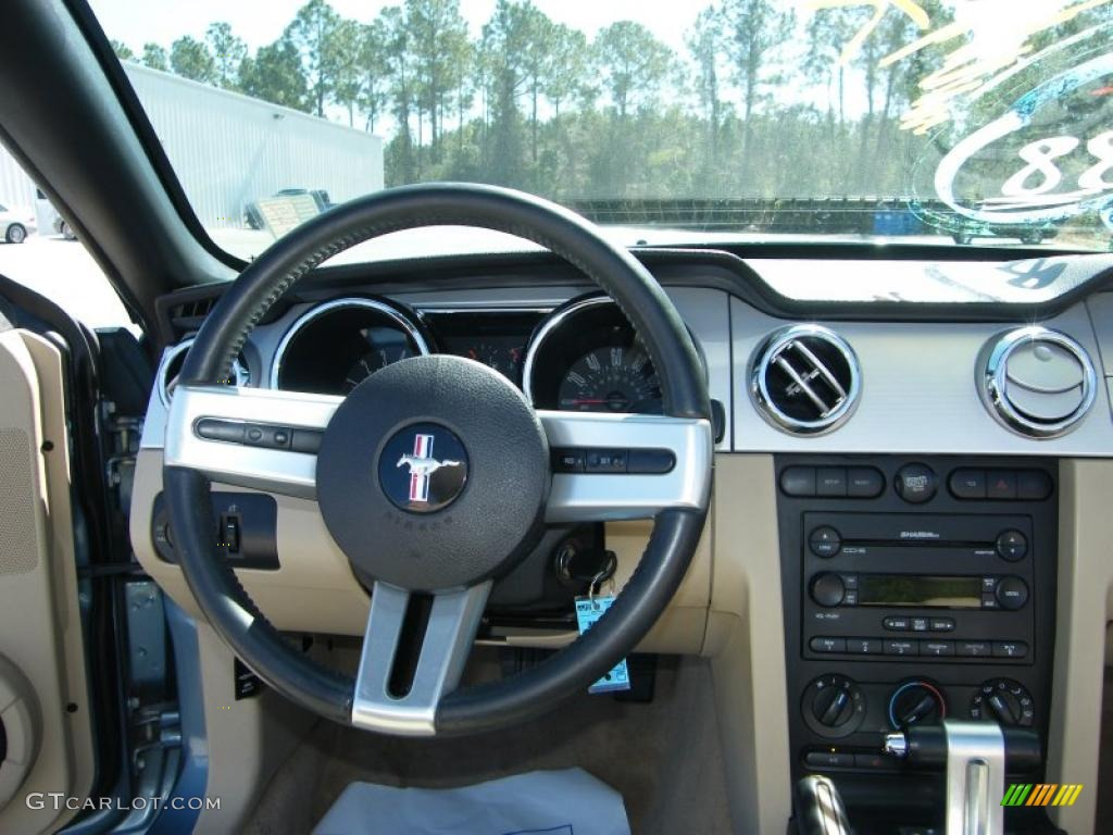 2007 Mustang V6 Premium Convertible - Windveil Blue Metallic / Medium Parchment photo #25