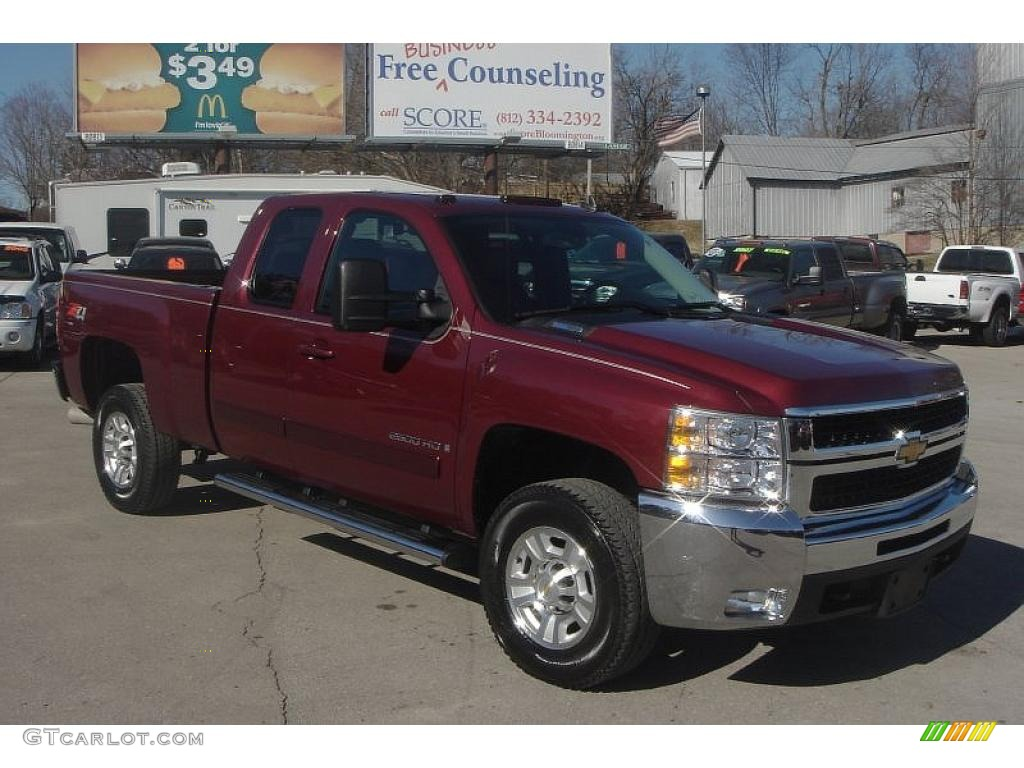 2008 deep ruby metallic chevrolet silverado 2500hd ltz extended cab 4x4 26673444. Black Bedroom Furniture Sets. Home Design Ideas