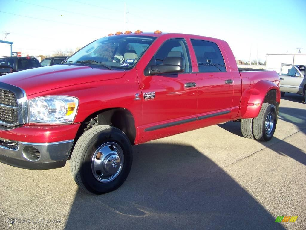 2007 Ram 3500 SLT Mega Cab 4x4 Dually - Inferno Red Crystal Pearl / Medium Slate Gray photo #1