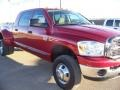 2007 Inferno Red Crystal Pearl Dodge Ram 3500 SLT Mega Cab 4x4 Dually  photo #2