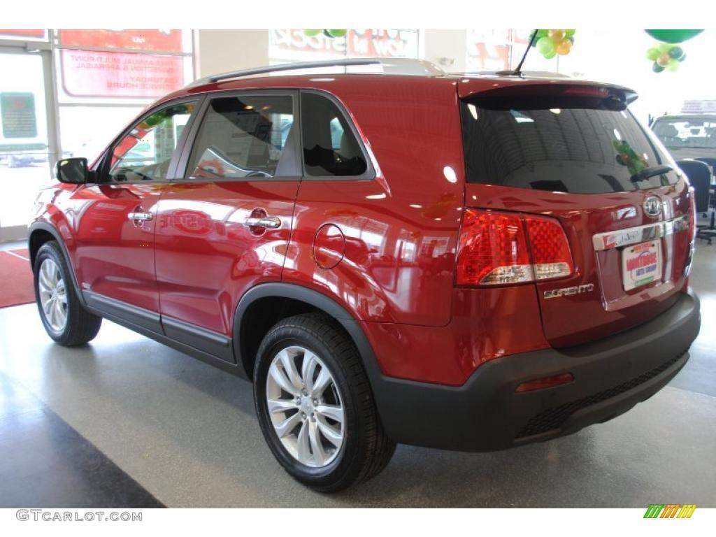 2011 Sorento EX AWD - Spicy Red / Beige photo #4