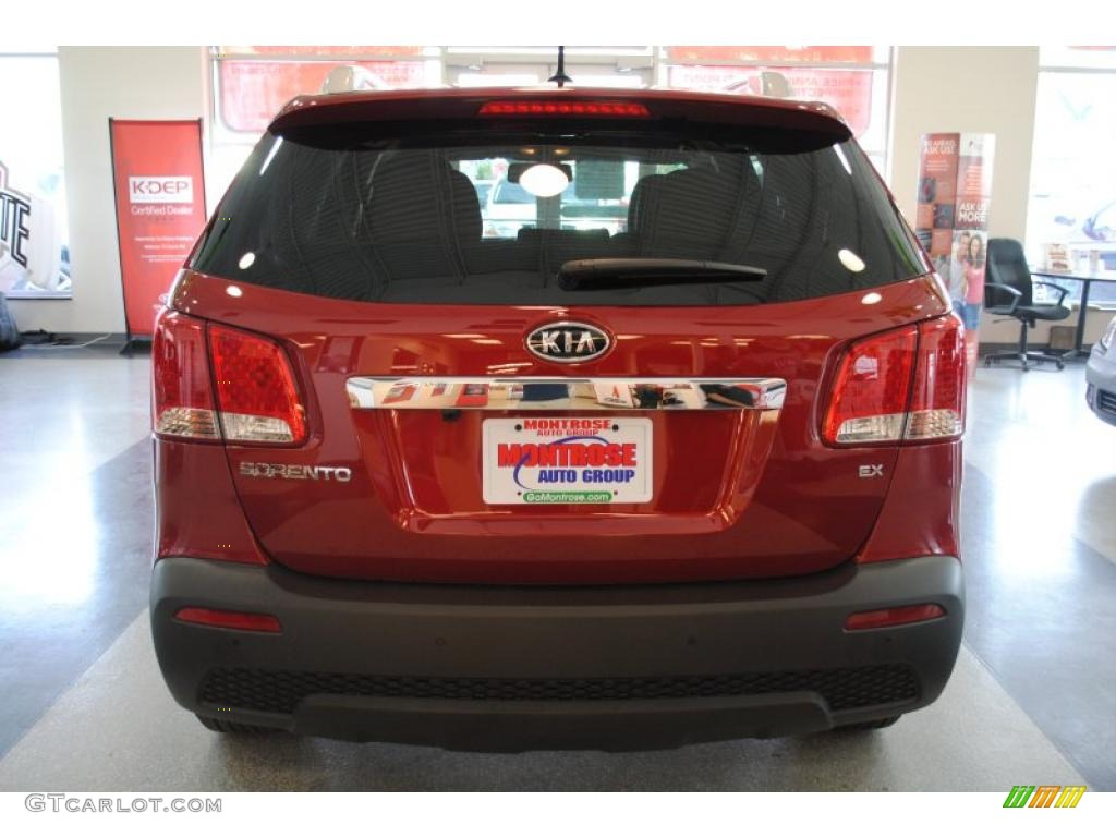 2011 Sorento EX AWD - Spicy Red / Beige photo #5