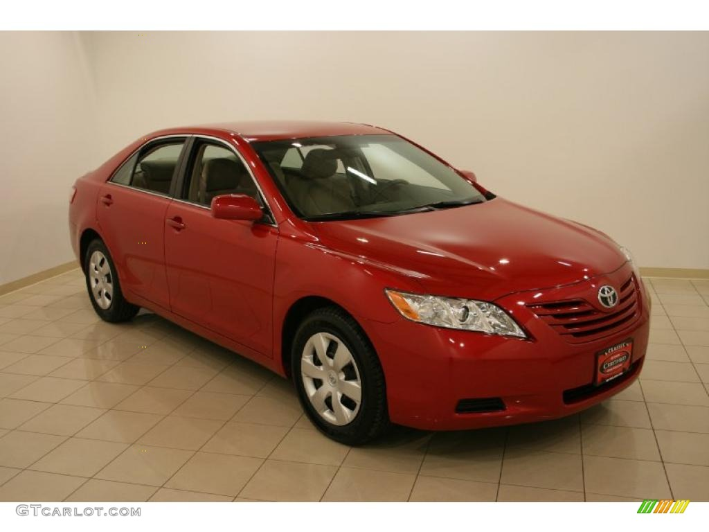 2007 toyota camry le red. Black Bedroom Furniture Sets. Home Design Ideas