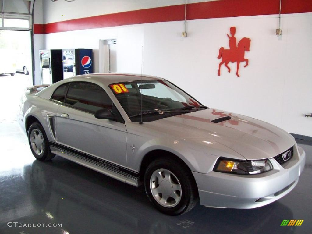 2001 silver metallic ford mustang v6 coupe 27234922 photo. Black Bedroom Furniture Sets. Home Design Ideas