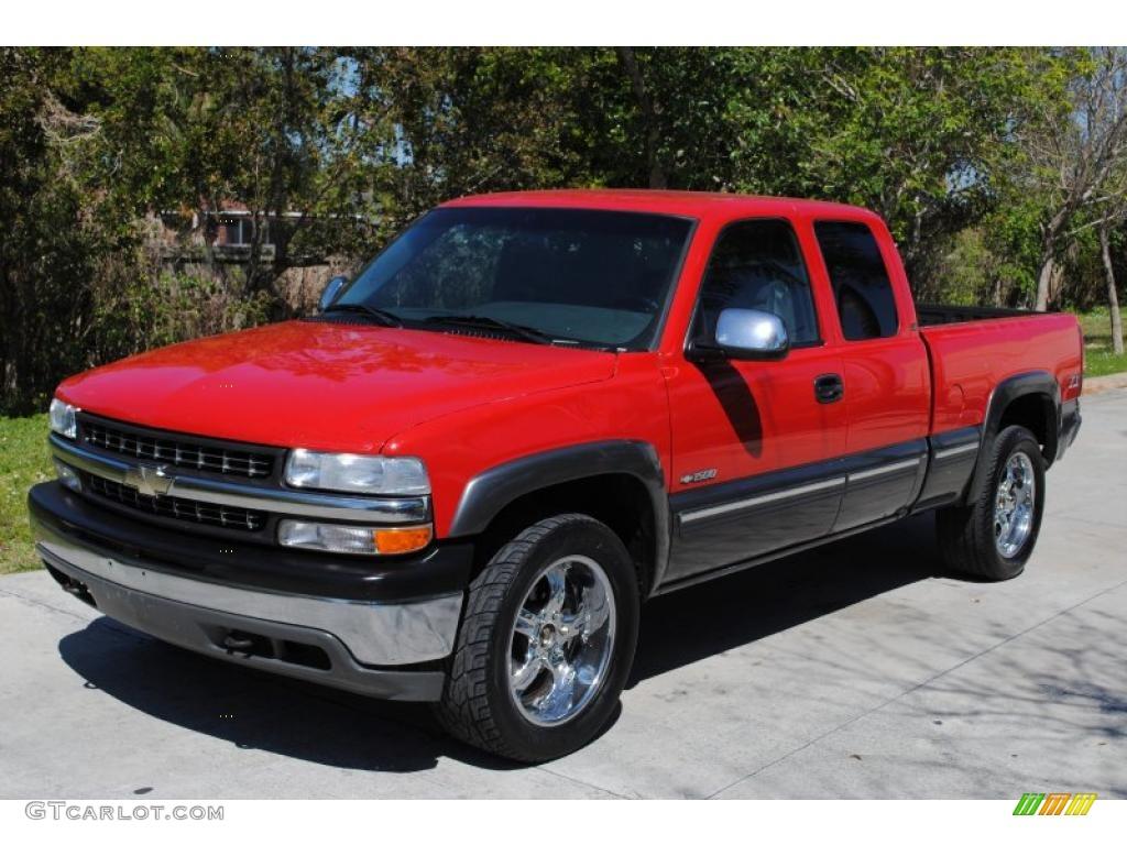2000 Silverado 1500 LS Extended Cab 4x4 - Victory Red / Medium Gray photo #1