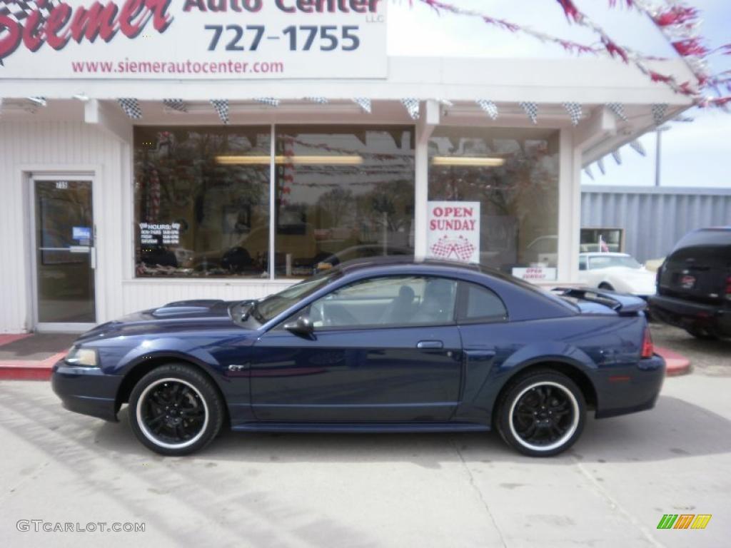 2001 Mustang GT Coupe - True Blue Metallic / Medium Parchment photo #1