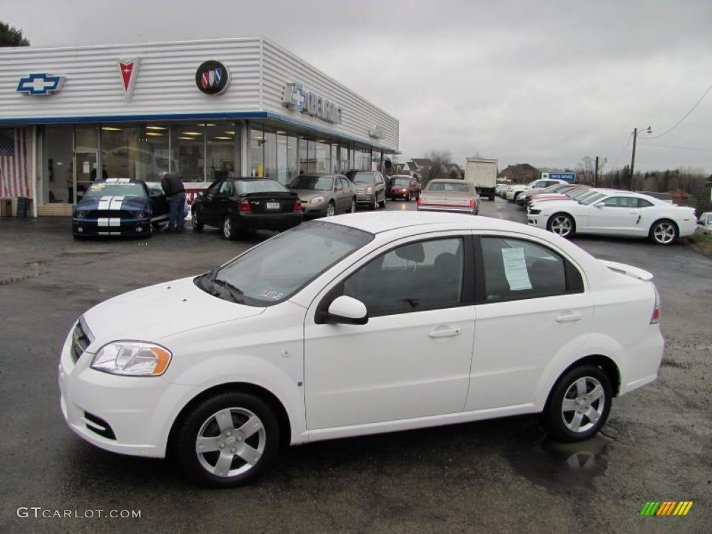2008 Aveo LS Sedan   Summit White / Charcoal Photo #1
